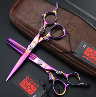 Wholesale 6 in Drangon Handle Professional Hair scissors set Cutting Thinning scissors HRC JP440C