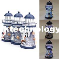 Wholesale Mediterranean Style lighthouse Craft Ornaments Ocean Home Decoration With LED Light Handmade Painted Zakka