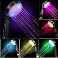 Wholesale 2015 New arrival Hot sale best quality Romantic Color Handheld LED Light Water Bath Home Bathroom Shower Head ZH120