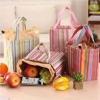Wholesale 500pcs LJJC3154 High Quality Fashion Stripe Travel Lunch Bag Picnic Contain Cooler Insulated Thermal Waterproof Organizer Dinnerware Handbag