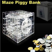 Wholesale New Candy Colors Machine Piggy Money Maze Bank Saving Collectibles Coin Gift Box D Puzzle Game