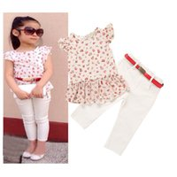 kids clothes high quality - Baby Girls Clothing Set Floral T shirt White Pants Set Fashion Summer Kids Clothes Suits Children Girls Outfits High Quality for T