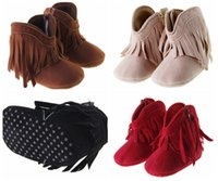 Wholesale new winter high waist zipper tassel casual plus velvet baby toddler boots PU soft bottom infant girl balancing warm boots pair