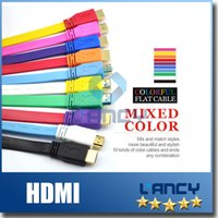Wholesale Full p HDMI To HDMI Cable Version1 Digital Video Cable Colorful Flat Noodle AUDIO Cable High Speed HDMI Cable Pieces
