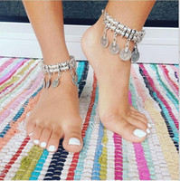 Wholesale Punk Style Thick Bohemian Moon Child Turkish Silver Antalya Tribal Coachella Gypsy Anklet Moon Lovers Beachy Chic Foot Jewelry