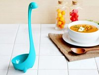 Wholesale Nessie Ladle Vertical Long Handle Plastic Spoon Dinosaurios Loch Ness Monster Nessie Spoons Cucharas Largas Louche De Cuisine