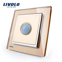Wholesale Livolo New Human Induction Switch Golden Glass Panel AC V Home Wall Light Switch VL W291RG