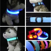 Wholesale 6 Colors LED Nylon Pet Dog Collar Night Safety Light up Light Flashing Glow In The Dark Electric LED Pets Cat Dog Collar