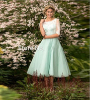 Wholesale 2016 Latest Junior Mint Green Bridesmaid Dresses Tea Length Short Sheer Lace Half Sleeve Scoop Neckline Formal Wedding Party
