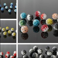 red clay - 10mm Tone Gradient Shamballa Ball Jewelry Making clay Pave Disco Rhinestonet Bead Full Hole Each Color or Mix Color