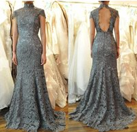Wholesale China Dress Pattern - 2015 Decent Gray Long Lace Evening Dresses High Neck Capped Sleeves Open Back Court Train Formal Gowns Custom Made China Wholesale 2016