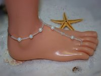 shell sandal - 2015 new arrival wedding Stretch barefoot sandals made with swarovski elements beach footless jewelry shell pearl beads foot anklets SW8967