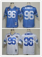 authentic throwback football jerseys - Factory Outlet Cheap Cortez Kennedy Blue White Hall of Fame Throwback th Patch Old Style Authentic Football Jerseys