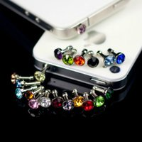 Wholesale Luxury Phone Accessories Small Diamond Rhinestone mm Dust Plug Earphone Plug For Iphone Ipad Samsung HTC PY