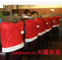Wholesale Hot Christmas Santa Red Hat Chair Back Covers Home Decorations Non Woven chair Cover Warmer Xmas Decor DHL free