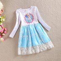 Cheap Fall Frozen Baby Girls Elsa Anna Princess Olaf Long Sleeve Dress Kids Clothing Kids Jumper Cartoon C086F