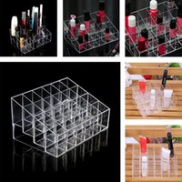 acrylic lip gloss display holder - 24 Lipstick Holder Display Stand Clear Acrylic Cosmetic Organizer Makeup Storage box Case for lip balm lip gloss mascara