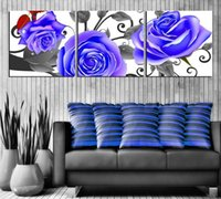 Cheap 3 Piece Free Shipping Hot Sell Modern Wall Painting purple rose flower Home Decorative Art Picture Paint on Canvas Pure hand-pai