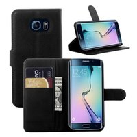plastic card holder - Note Flip Case iPhone Stand Wallet Leather Lichee Pattern Cell Phone Holder Case With ID Card For Samsung S6 Iphone S