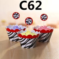 Wholesale Party Decorations Event Cupcake Wrappers Red Leopard fishing Cup Cake Toppers Picks Kids Birthday Supplies Party Favors H0329c