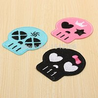 Wholesale 3pcs x5 cm Embroidery Patches Skull Heads Iron On Applique Clothes Embroidered Sewing Fabric Motif Patch Sewing Supplies small order no