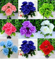 Wholesale 2015 Heads Artificial Rose Bunch Silk Flower Bouquet Home Wedding Garden Decoration