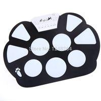 Electrónicos portátiles Rollo de Pad de Percusión Kit de Silicona Plegable con Palo + fuente de alimentación