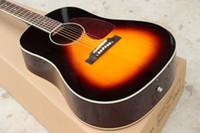 Wholesale Custom guitar shop OEM sunburst color j45 acoustic guitar solid spruce top top sapele back and side guitars