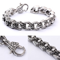 Wholesale New fashion men s and women s Retro style riranium steel stainless steel skull with energy different length bracelet KB27118 D