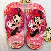 Wholesale Toddler Flip Flops Kids Sandals Shoes Princess Shoes Girls Minnie Mouse Girls Bling Summer Holiday Flip Flop Baby Toddler