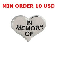 Charms heart charm - Floating charms IN MEMORY HEART CHARM for memory living locket