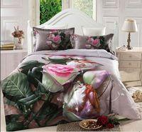 Wholesale 2015 New Arrival Flowers Print Piece Duvet Cover Bedding Sets Cotton High Quality D Bedding Set