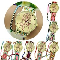 Wholesale 2015 Boho Colorful relogio feminino relojes mujer Newest Girls Bracelet Watch Women Dream Catcher Braid Watches Wristwatches ChristmasCPA309