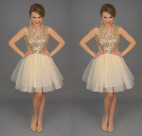 Wholesale 2015 Sparky Golden Sequins Party Dresses Short Jewel Neck Tulle Knee Length Prom Homecoming Gowns Cheap Under Special Occasion Skirt