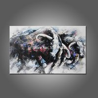 animal buffalo pictures - modern abstract oil painting gray balck canvas art run strong Buffalo wild ox animals painting sitting room hangs wall picture