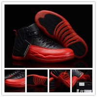 Wholesale Authentic Carbon Fiber Retro XII Flu Game s Men s Sports Basketball Shoes Black Varsity Red