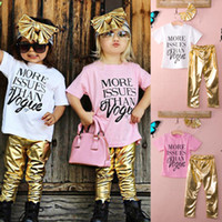 baby vest - 3pcs Baby Girls Headband Letters T shirt Pants Set Kids Summer Clothes Outfits