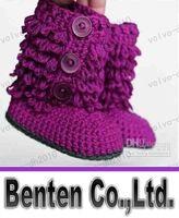 llfa7953 Crochet botas de neve bebê primeiros sapatos walker laços yarn49pairs projeto de algodão / 0-12M monte