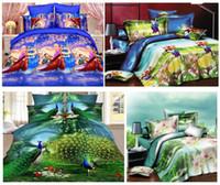 al por mayor reina edredón púrpura-textiles para el hogar, ropa de cama 4pcs 3D Set 4 piezas / juego de edredón / duvet de la hoja púrpura flor de lirio / cama