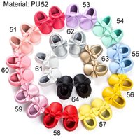 baby bow shoes - 2016 Handmade Baby Moccasins soft sole baby shoes Genuine Leather Bow Moccasin Soft Sole Slip on Baby Shoes for Boys and Girls