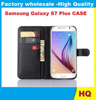 50PCS Lychee cubierta de la carpeta del soporte del cuero con la caja del titular de la tarjeta para el teléfono Samsung Galaxy S7 Plus móvil del ENVÍO de DHL