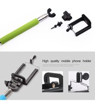 Wholesale Monopod selfie stick with phone clip holder for Iphone for Android cellphone monopod