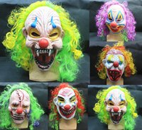 adult joker costumes - Halloween Scary Mask Circus Clown Head Adult Costume Party Accessory Full Mask Head Latex Creepy Scary hair Joker Mask Free DHL