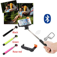 Wholesale Wireless Bluetooth Mobile Phone Monopod selfie sticks Z07 Bluetooth Self timer Shutter Clip for iPhone IOS Samsung Android phone DHL FREE