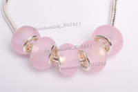 Wholesale Hot Sale Pink Flower Murano glass Beads charms for Pandora bracelet gb0058