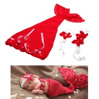 Wholesale Lovely Baby Infant Red Mermaid Crochet Knitting Costume Dress Soft Clothes Photo Photography Props Set for Month Newborn