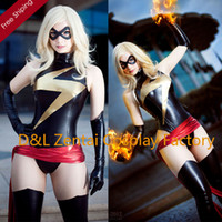 Wholesale DHL Woman Sexy Black and Gold Shiny Metallic Ms Marvel Costume Party Fit Suit Super Hero Zentai Catsuit SHC101