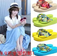 Cheap FREE SHIPPING Women Sandals New 2015 Summer bohemia flower Women flip flops Platform Wedges Women Sandals slippers beach shoes size 35~39