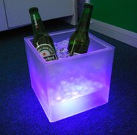 Wholesale Square LED Ice Bucket Party RGB light with Three Changing Colors and L capacity ice cooler
