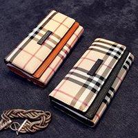 Wholesale New ladies Designers Plaid wallet magnetic buckle Pu purse tri fold clutch bag classical handbag